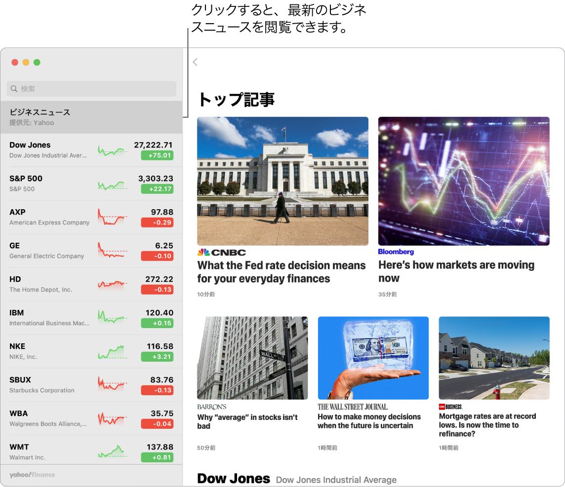 「株価」のダッシュボード。ウォッチリストに株価が表示され、トップ記事も示されています。