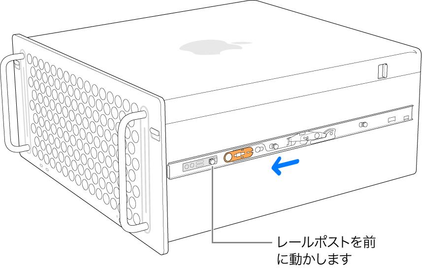 Mac Pro。レールを前にスライドさせ、所定の位置にロックしています。