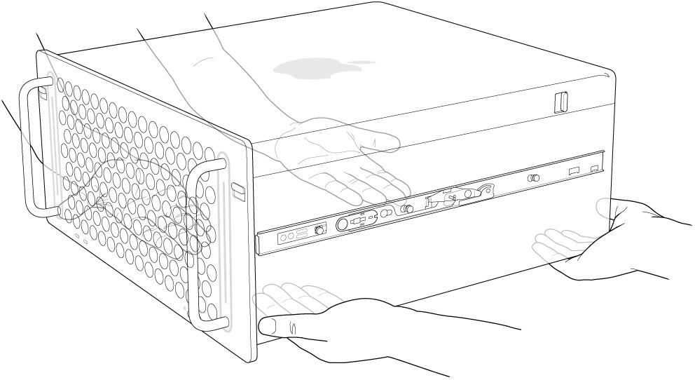Mac Pro компьютерін көтеріп жатқан екі адамның қолдары.