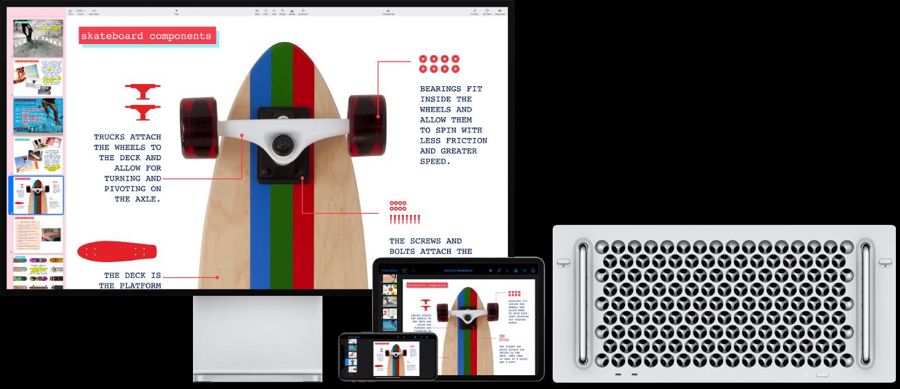 Mac Pro компьютерінде, an iPad және iPhone құрылғысында көрсетілген бірдей мазмұн.