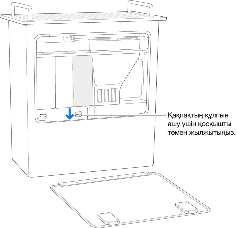 DIMM қақпағының құлпын ашатын қосқышты бөлектеп, шетінде тұрған Mac Pro.