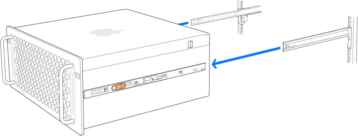 Сөреге бекітілген рейкалардан шығарып алынып жатқан Mac Pro.