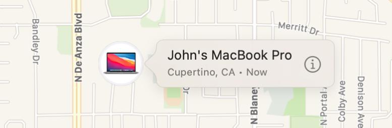 Джонның MacBook Pro компьютері үшін Info белгішесінің жақындатылған көрінісі.