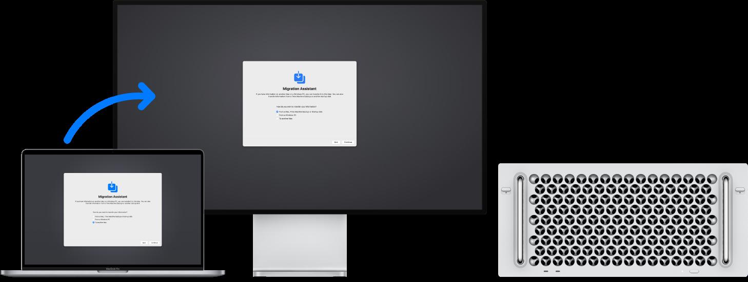 Migration Assistant экраны ашық тұрған Mac Pro компьютеріне қосылған Migration Assistant экранын көрсетіп тұрған MacBook.