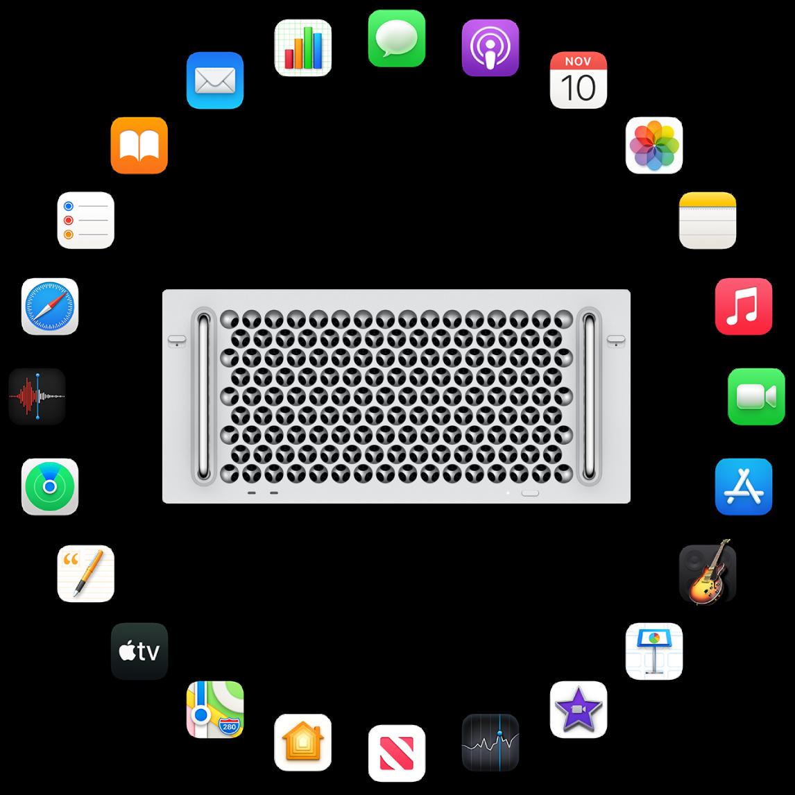 Келесі бөлімдерде сипатталған кірістірілген қолданбалардың белгішелерімен қоршалған Mac Pro компьютері.