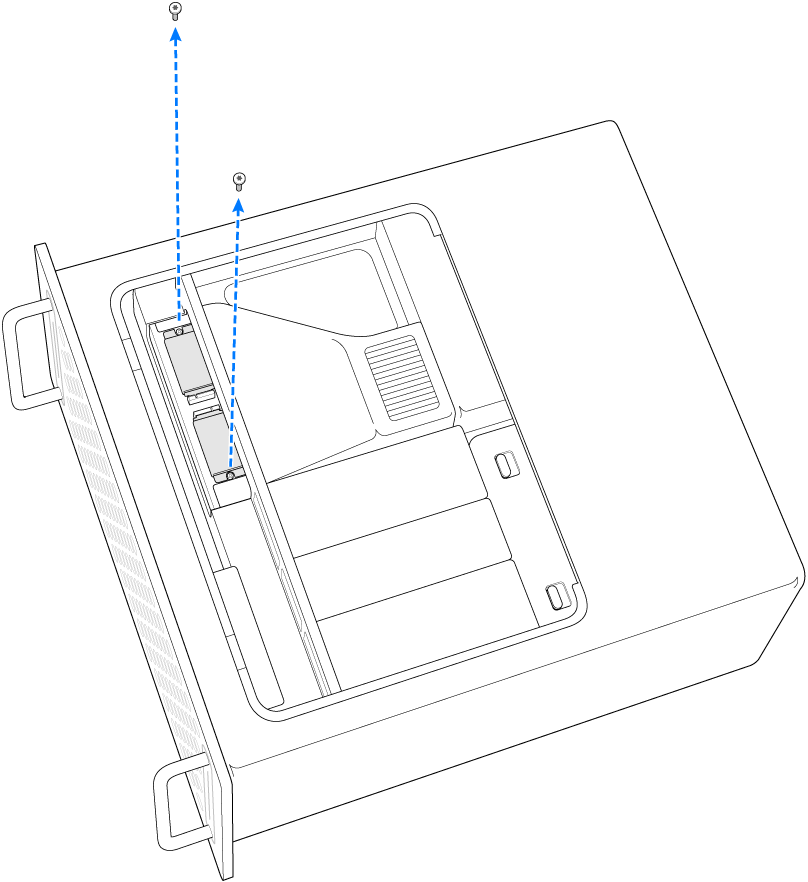 두 개의 나사를 제거하는 MacPro의 측면.