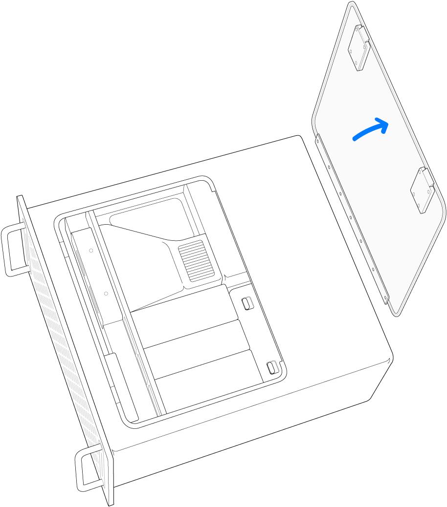 액세스 패널 제거 과정이 하이라이트된 MacPro의 측면.