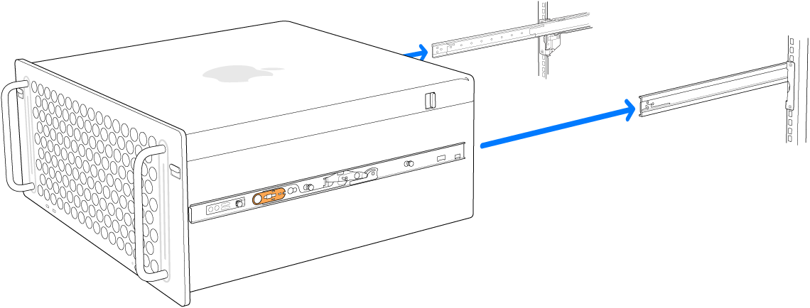랙의 레일에 맞춰 정렬된 Mac Pro.