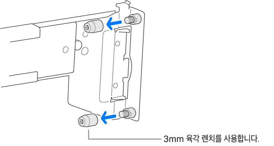 둥근 구멍 랙에 맞는 레일 어셈블리.