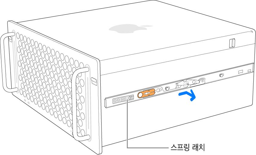 Mac Pro의 양쪽에서 분리되는 레일.