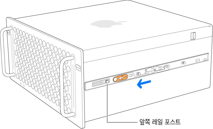 레일이 앞으로 밀려나며 제자리에 고정되는 Mac Pro.
