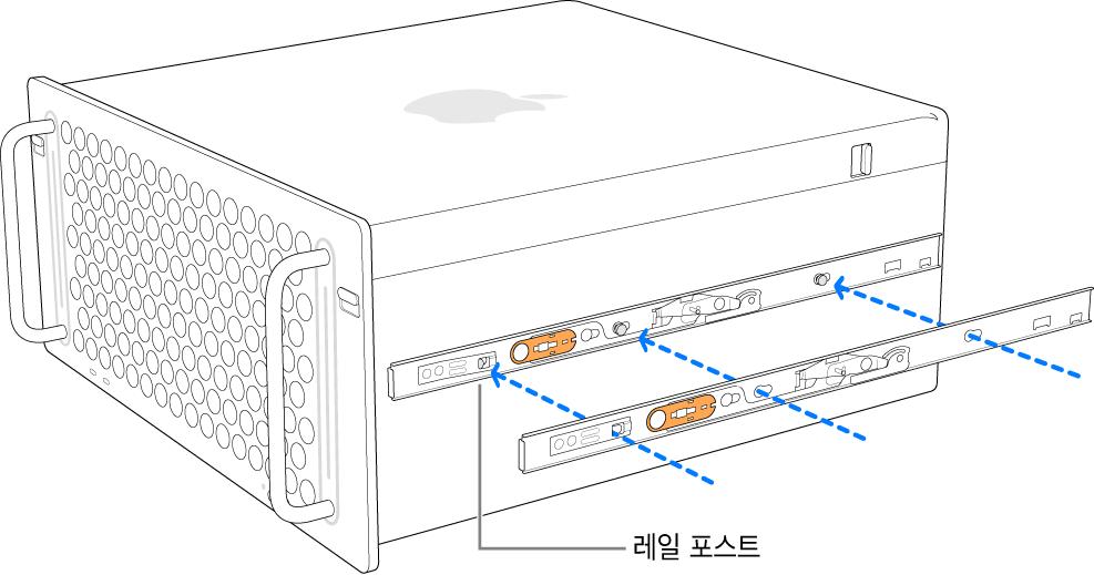 안쪽 레일이 Mac Pro 측면으로 장착됨.