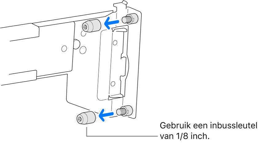 Een rail die in een rack met ronde gaten past.