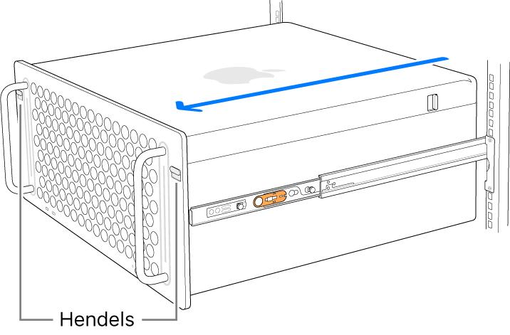 MacPro die rust op de rails die zijn bevestigd aan een rack.