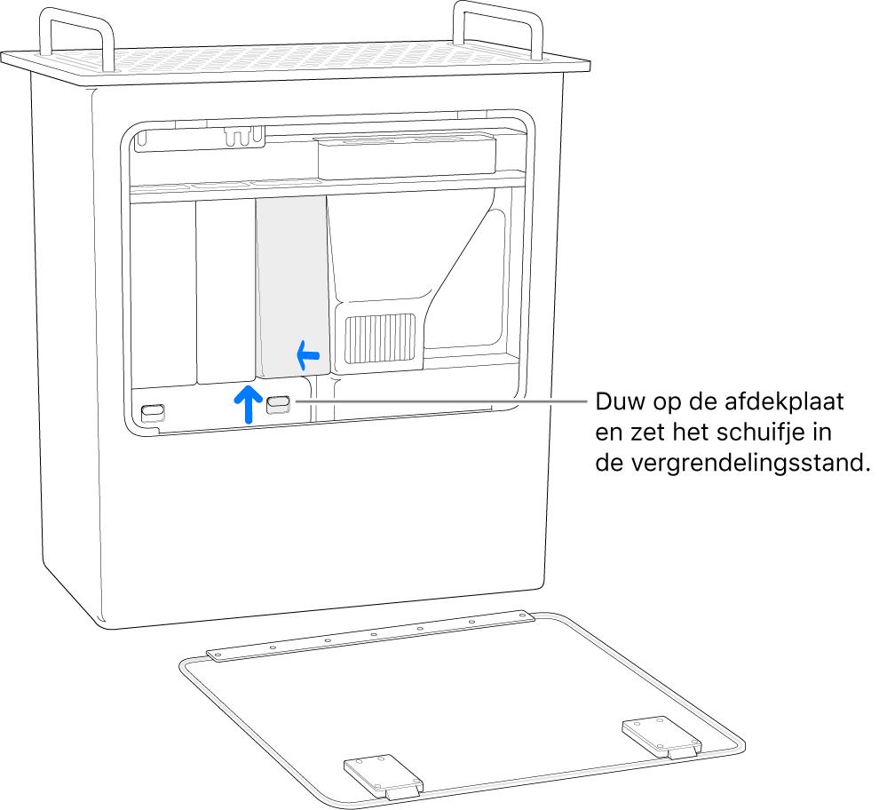 Een MacPro op zijn kant, waarbij wordt aangegeven hoe het DIMM-schuifje vergrendeld moet worden.