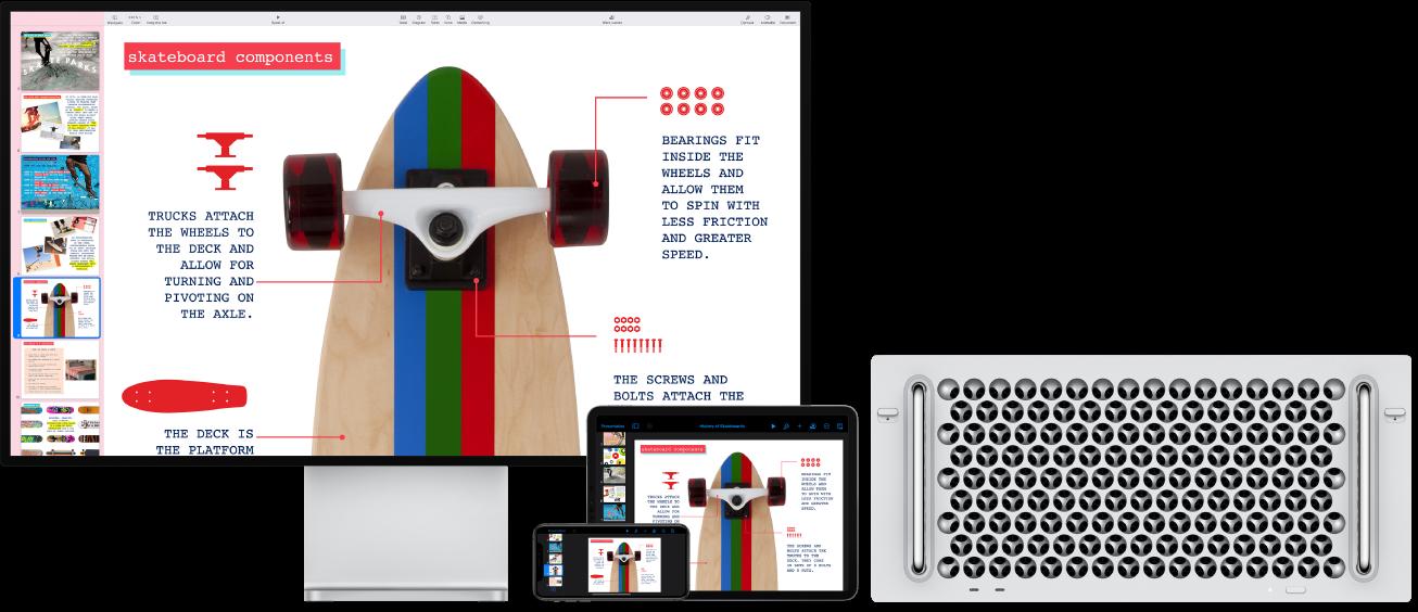 Identieke inhoud weergegeven op een MacPro, een iPad en een iPhone.