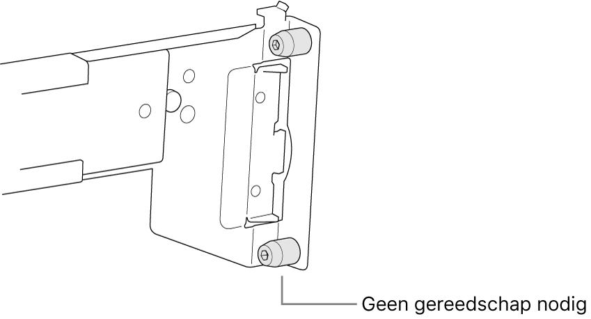 Een rail die in een rack met vierkante gaten past.