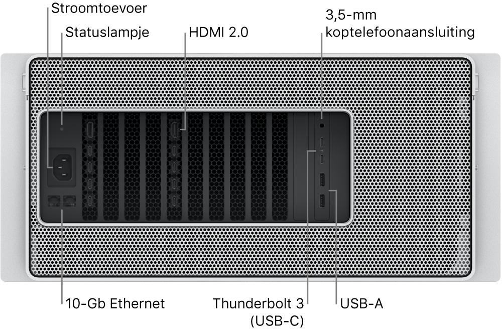 De achterkant van de Mac Pro met de poort voor het netsnoer, een statuslampje, twee HDMI 2.0-poorten, 3,5-mm koptelefoonaansluiting, twee 10 Gigabit Ethernet-poorten, twee Thunderbolt3-poorten (USB-C) en twee USB-A-poorten.