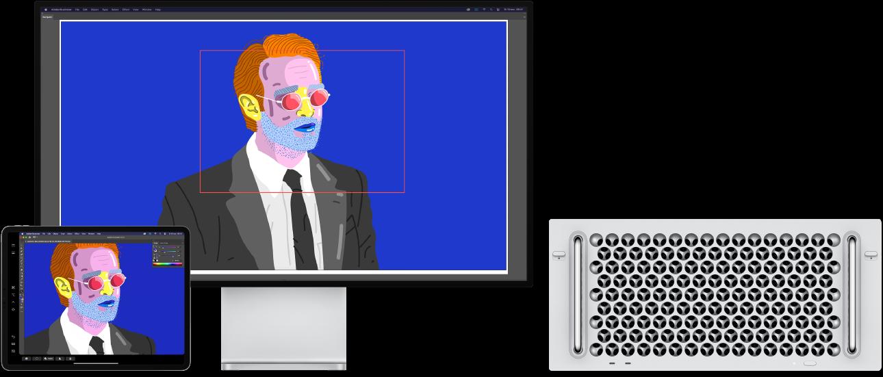 Een MacPro en een iPad naast elkaar. Op de MacPro wordt een illustratie weergegeven in het navigatiepaneel van Illustrator. Op de iPad is dezelfde illustratie te zien in het documentvenster van Illustrator, omgeven door knoppenbalken.