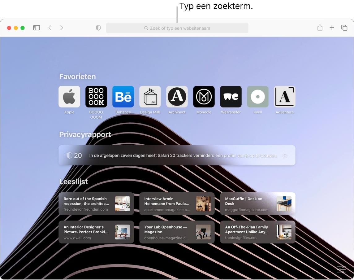 Een Safari-venster met negen favoriete onderdelen, een privacyrapport, zes websites in de leeslijst en boven in het venster een bijschrift voor het zoekveld.