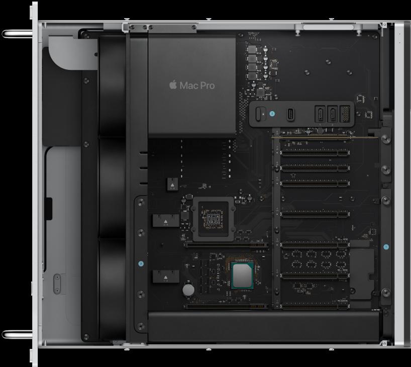 Binnenkant van een MacPro (rack-configuratie).