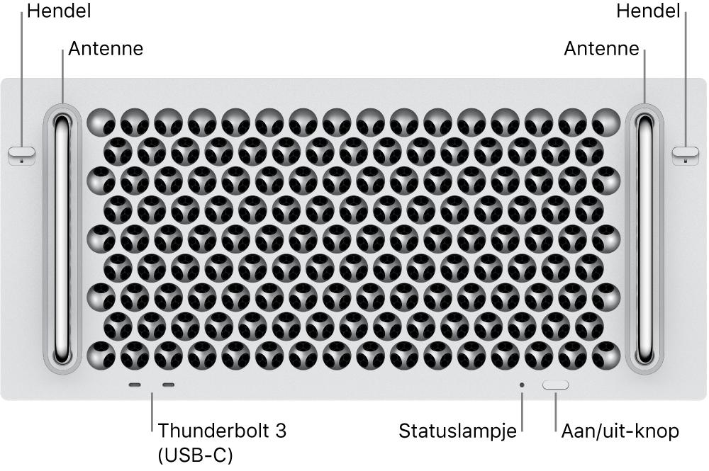 De voorkant van de Mac Pro met twee Thunderbolt 3-poorten (USB-C), een statuslampje, aan/uit-knop en antenne.