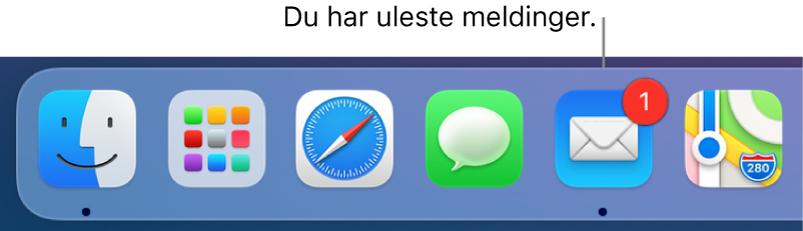 En del av Dock som viser Mail-programsymbolet med et merke som viser antallet uleste meldinger.