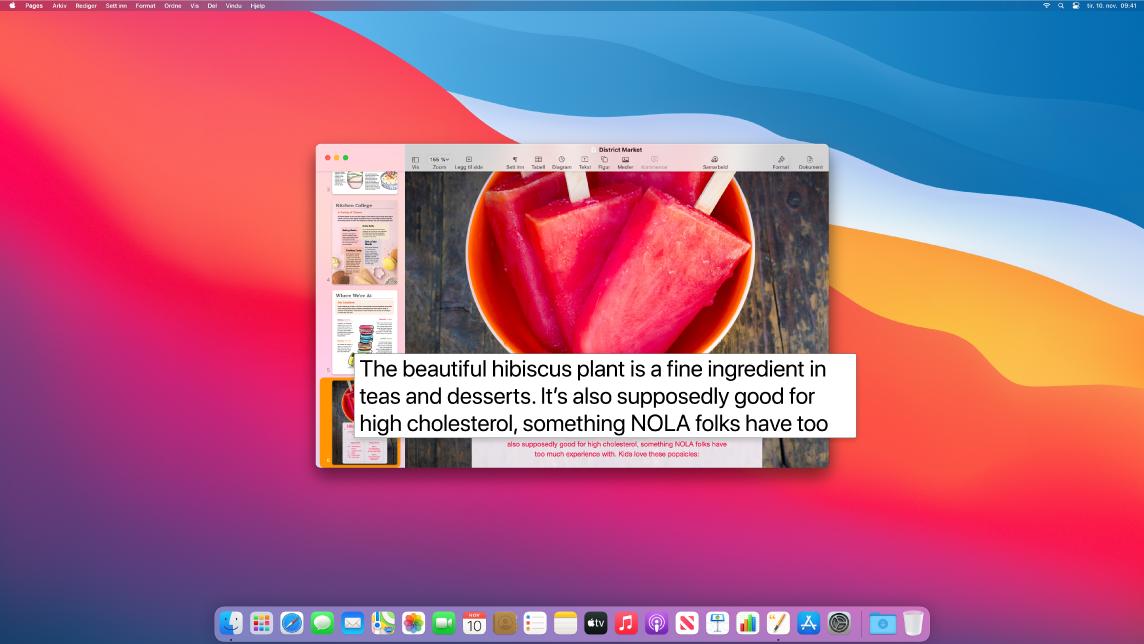 Peketekst-funksjonen er aktivert og viser forstørret tekst i et nytt vindu.