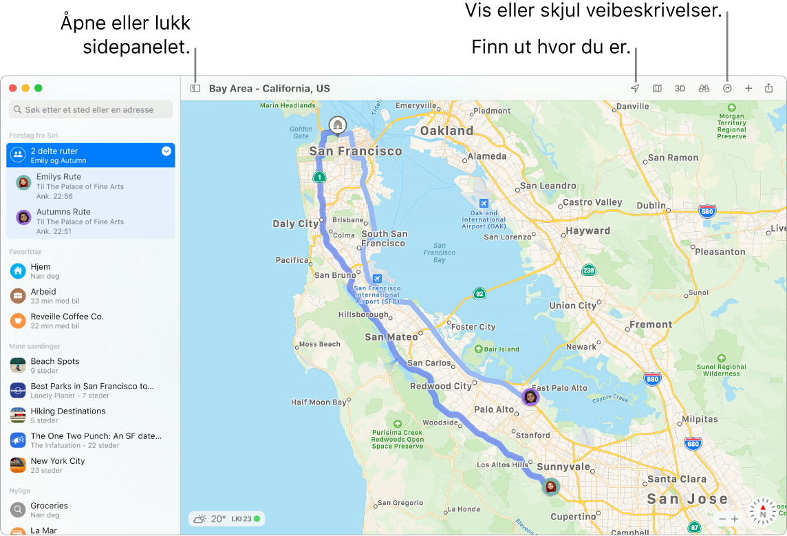 Et Kart-vindu som viser hvordan du kan få veibeskrivelse ved å klikke på en destinasjon i sidepanelet, hvordan du åpner og lukker sidepanelet og hvordan du finner posisjonen din på kartet.