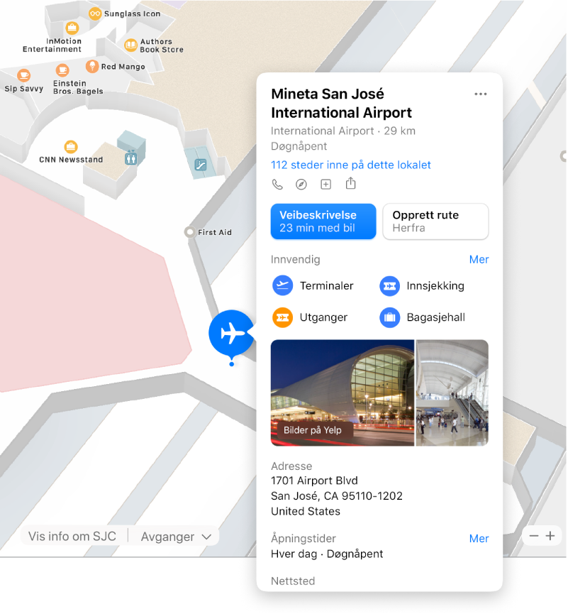 Et kart av innsiden av en flyplass, med informasjon om flyplassen, inkludert veibeskrivelser, restauranter, butikker og mye mer.