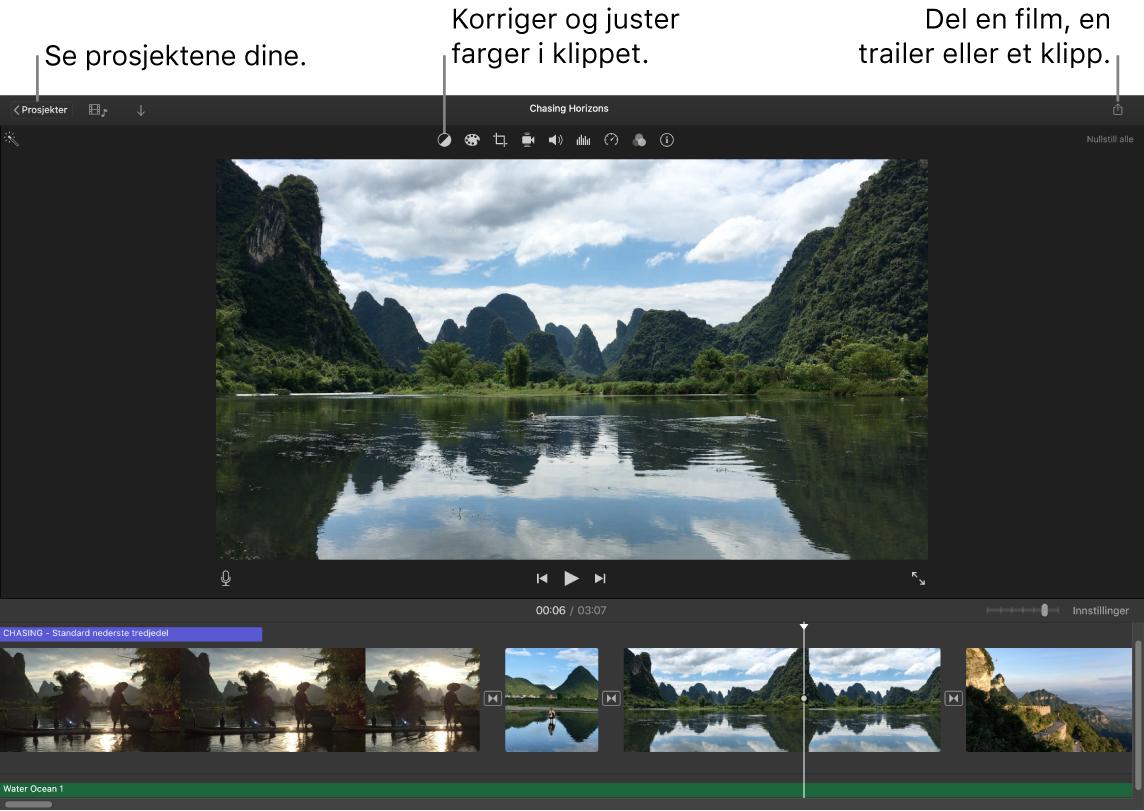 Et iMovie-vindu som viser knappene for å se prosjekter, korrigere og justere farger og dele filmen, traileren eller filmklippet.