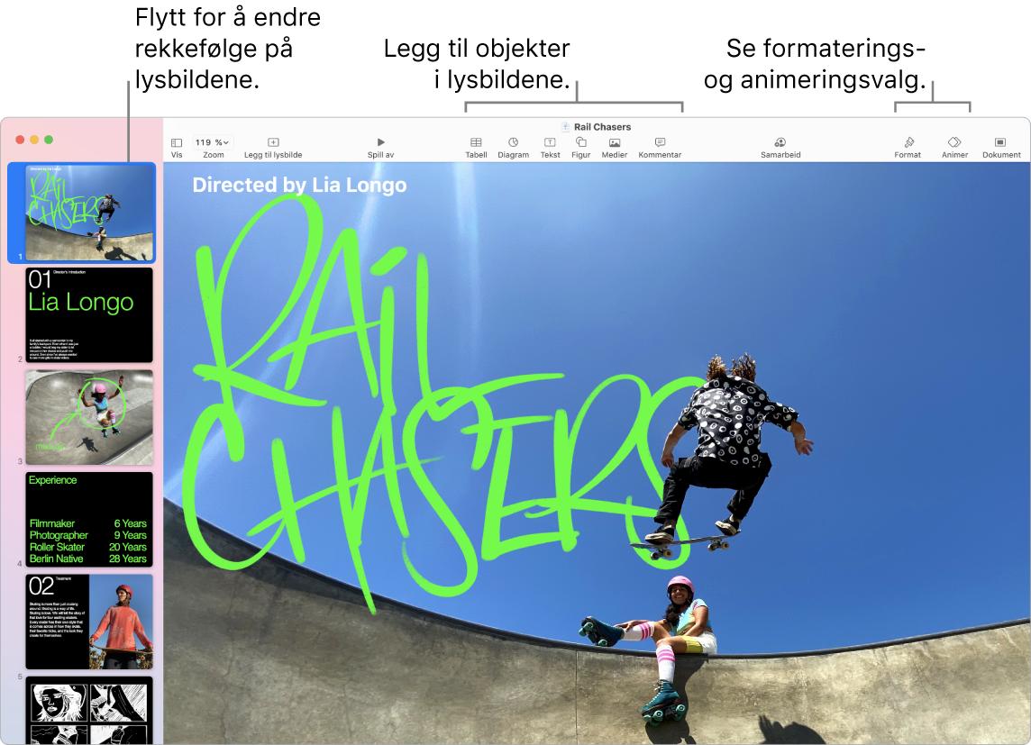 Et Keynote-vindu med lysbildenavigering til venstre og valg for å endre rekkefølgen på lysbilder, verktøylinjen og redigeringsverktøyene øverst, Samarbeid-knappen oppe til høyre, og knappene Format, Animer og Dokument helt til høyre.