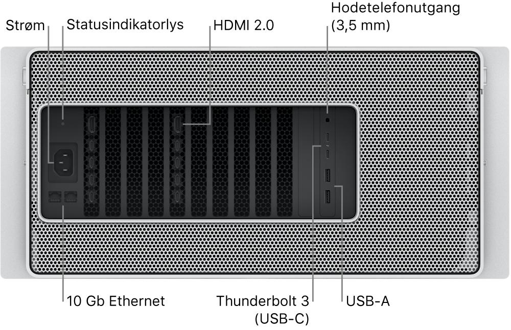 Baksiden av MacPro som viser strømporten, et statusindikatorlys, to HDMI2.0-porter, 3,5mm hodetelefoninngang, to 10Gigabit Ethernet-porter, to Thunderbolt3-porter (USB-C) og to USB-A-porter.