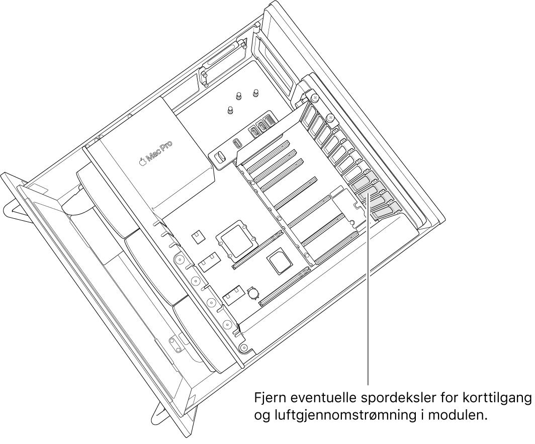 Fjern eventuelle plassdeksler som er nødvendig for tilgang til kortporten og luftgjennomstrømming gjennom modulen.
