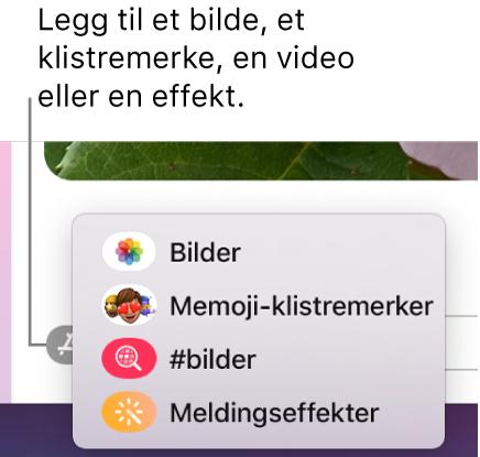 Programmenyen, med valg for å vise bilder, Memoji-klistremerker, GIF-er og meldingseffekter.