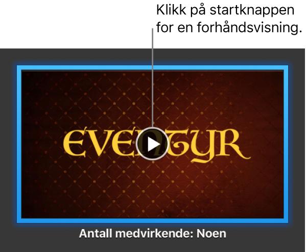 iMovie-skjermen som viser Spill av-knappen.