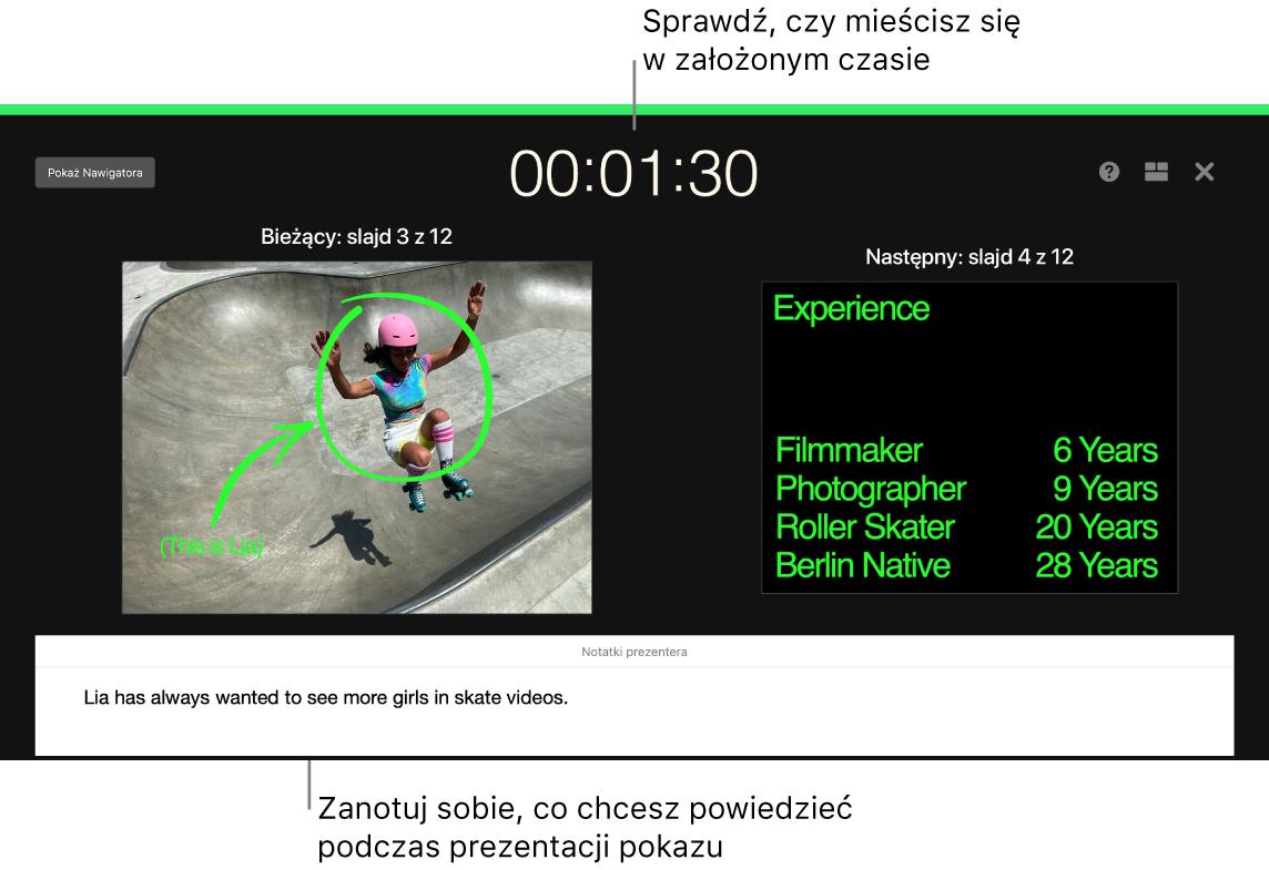 Okno aplikacji Keynote prezentujące funkcję Próba pokazu slajdów.
