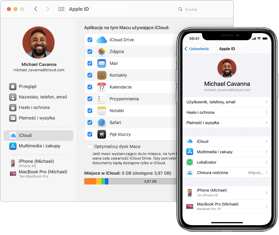 Ustawienia iCloud na iPhonie oraz okno iCloud na Macu.
