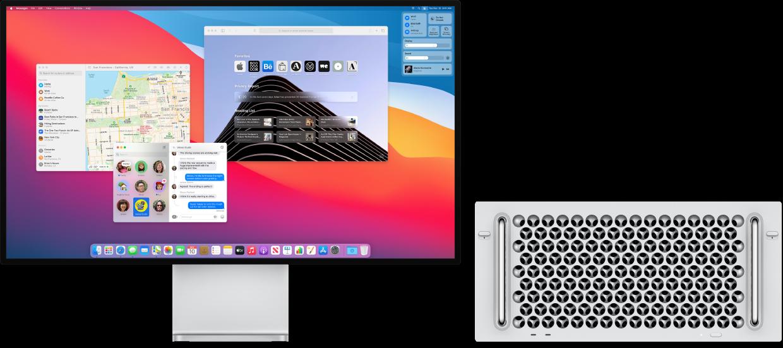 Monitor Pro Display XDR podłączony do Maca Pro zwidocznym na biurku centrum sterowania oraz wieloma otwartymi aplikacjami.