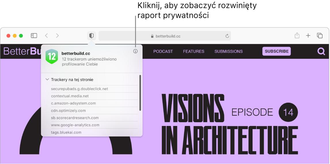 Okno Safari zpreferencjami witryny, takimi jak: Używaj widoku Reader, gdy jest dostępny, Włącz blokady zawartości, Zoom strony, Autoodtwarzanie oraz Okna wyskakujące.