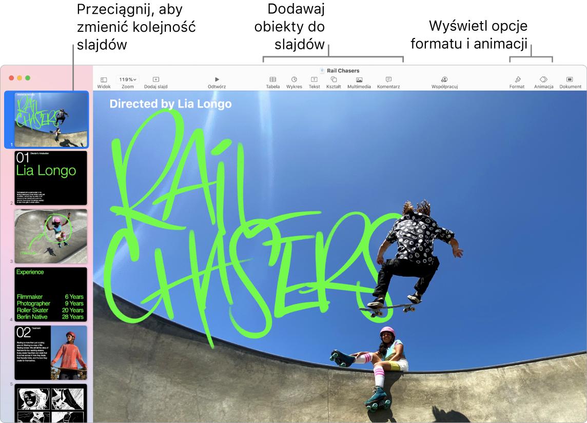 Okno aplikacji Keynote znawigatorem slajdów po lewej stronie oraz przedstawionym sposobem zmieniania kolejności slajdów. Na górze okna widoczny jest pasek narzędzi zawierający narzędzia edycji. Wpobliżu prawego górnego rogu znajduje się przycisk współpracy, ana prawo od niego widoczne są przyciski Format, Animacja oraz Dokument.