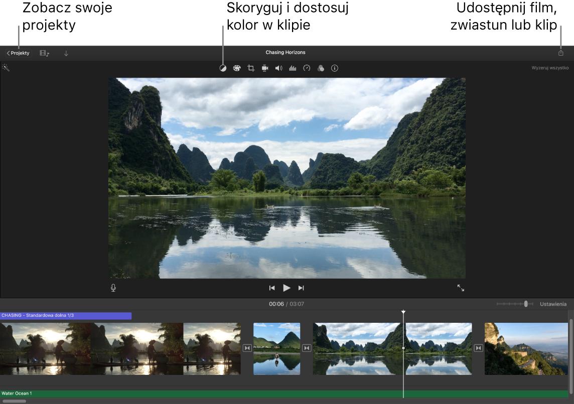 Okno iMovie przedstawiające przyciski do wyświetlania projektów, poprawiania idostosowywania koloru oraz udostępniania filmu, zwiastuna lub klipu filmowego.