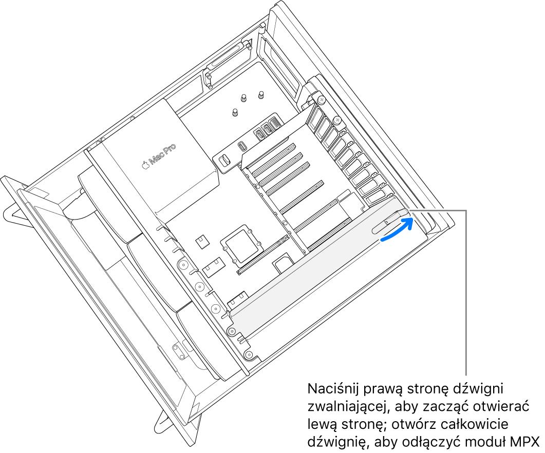 Otwieramy dźwignię, aby zdemontować istniejący moduł.