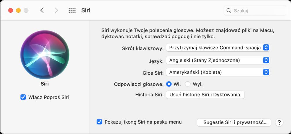 Okno preferencji Siri zawierające zaznaczone pole wyboru Włącz Poproś Siri, znajdujące się po lewej, atakże opcje pozwalające na dostosowanie Siri, znajdujące się po prawej.