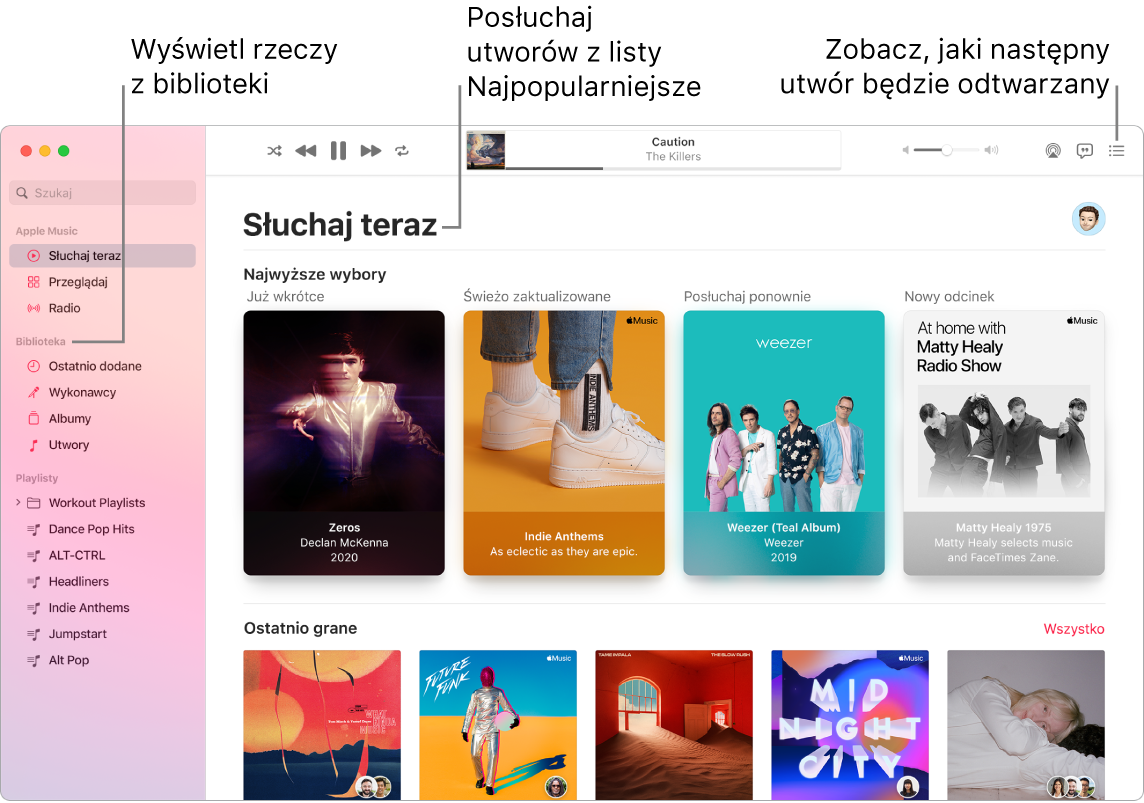 Okno aplikacji Muzyka pokazujące sposób wyświetlania biblioteki, słuchania Apple Music oraz wyświetlania utworów odtwarzanych wnastępnej kolejności.