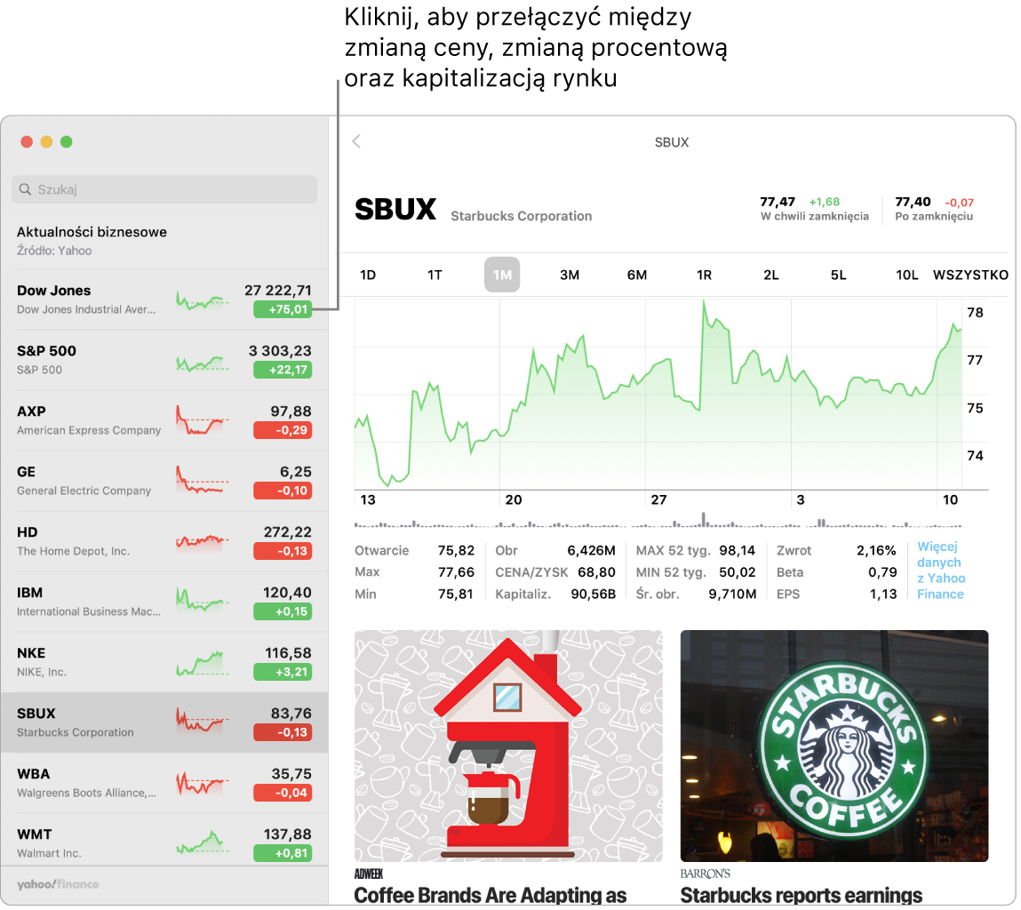 Ekran aplikacji Giełda wyświetlający informacje ipublikacje dotyczące zaznaczonej spółki.