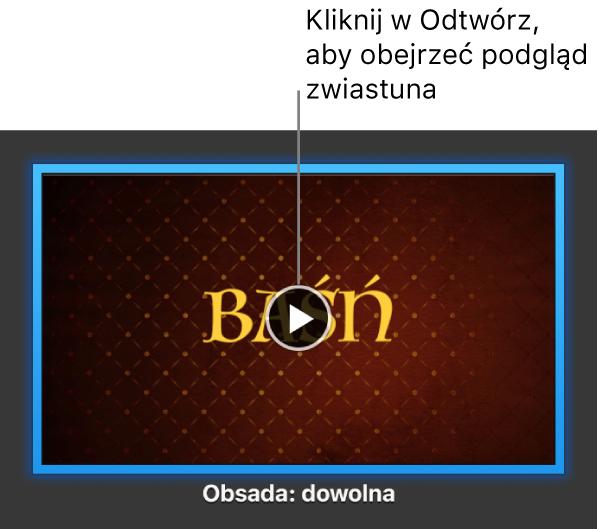 Ekran ze zwiastunem iMovie iprzyciskiem odtwarzania.