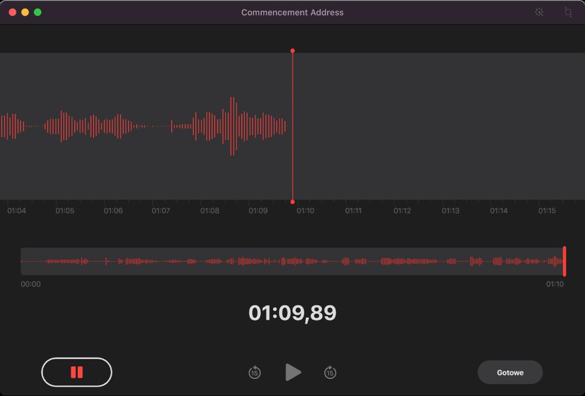 Okno aplikacji Dyktafon podczas nagrywania.