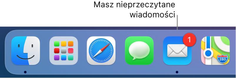 Fragment Docka zawierający ikonę Mail zplakietką informującą oliczbie nieprzeczytanych wiadomości email.