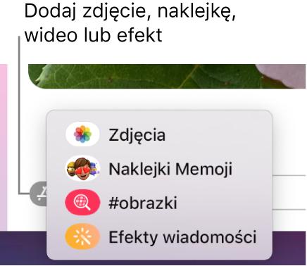 Menu aplikacji zopcjami wyświetlania zdjęć, naklejek Memoji, animacji GIF oraz efektów wiadomości.